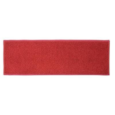 """Custom Size Stair Treads Solid Red Color 9.5"""" x 31.5"""" Indoor Carpet Stair Tread Cover Slip Resistant Backing Set of 13"""
