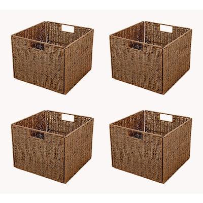 12 in. H x 12 in. W x 12 in. D Brown Wicker Cube Storage Bin 4-Pack