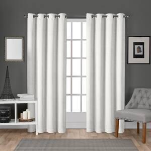 Velvet Winter White Solid Polyester 54 in. W x 84 in. L Grommet Top Light Filtering Curtain Panel (Set of 2)