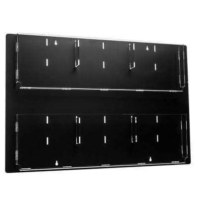 29 in. x 23 in. Black Adjustable Pockets Clear Acrylic Hanging Magazine Rack