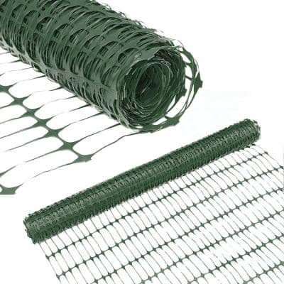 4 ft. H x 100 ft. L Recyclable Plastic Garden Fence Environmental Protection Safety Netting, Green