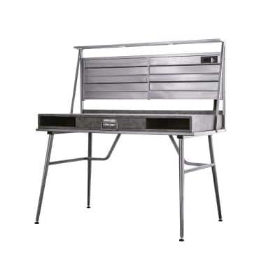 48 in. Rectangular Silver 1 Drawer Computer Desk with USB Port