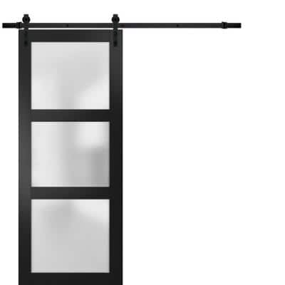 Lucia 2552 30 in. x 84 in. 3 Panel Frosted Black Matte Finished Solid Wood Sliding Barn Door with Hardware Kit