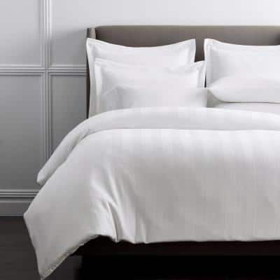 Griffith White Solid 300-Thread Count Supima Cotton Oversized Queen Duvet Cover