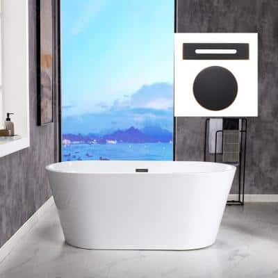 Archie 59 in. Acrylic FlatBottom Double Ended Bathtub with Oil Rubbed Bronze Overflow and Drain Included in White