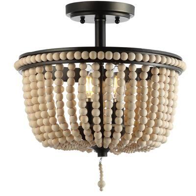 Allie 14 in. Wood Beaded/Metal LED Flush Mount, Black /-Light Taupe