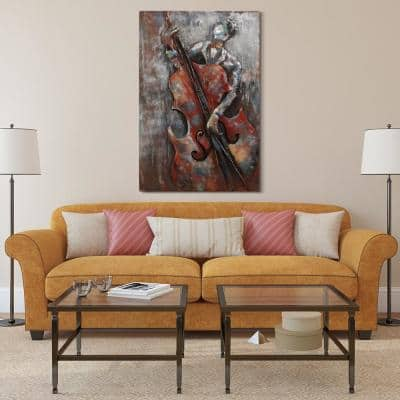 """48 in. x 32 in. """"The Bassist"""" Mixed Media Iron Hand Painted Dimensional Wall Art"""