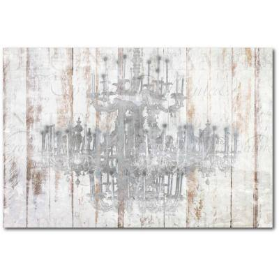 """24 in. x 36 in. """"Barnwood Chandelier"""" Gallery Wrapped Canvas Printed Wall Art"""