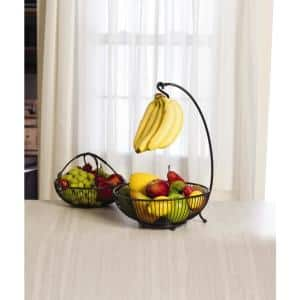 Spindle 2-Tier Basket with Banana Hook