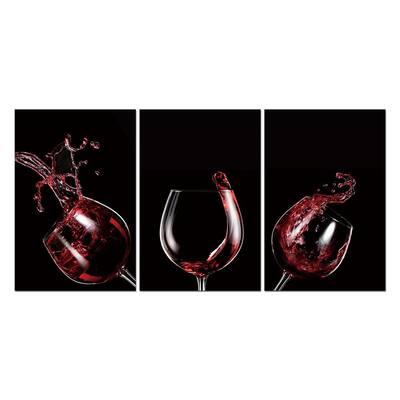 "Oppidan Home ""Red Wine Celebration"" Acrylic Wall Art 48 in. H x 96 in. W"
