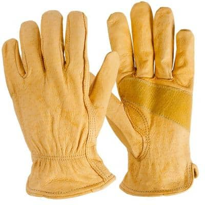 Large Tan Cowhide Leather Gloves