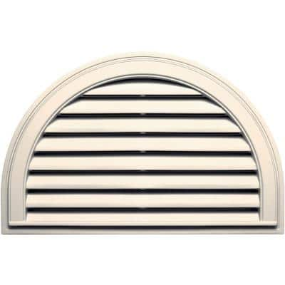 34.1875 in. x 22.128 in. Half Round Beige/Bisque Plastic Built-in Screen Gable Louver Vent