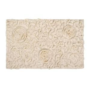 Bell Flower Collection Ivory 24 in. x 40 in. Cotton Bath Rug