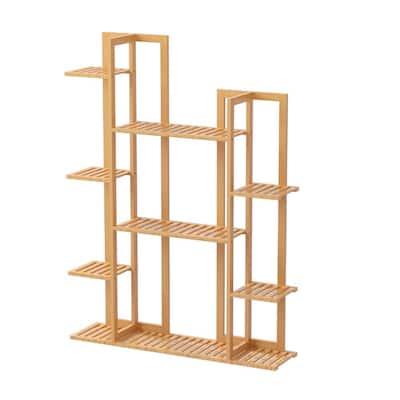 6 -Tier Wooden Bamboo Rack Indoor Outdoor Bamboo Shelf Flower Pot Plant Stand