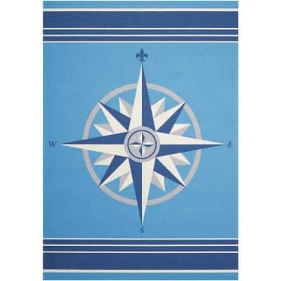 Sailing Blue 5 ft. x 7 ft. Solid Transitional Indoor/Outdoor Area Rug