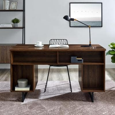 54 in. Rectangular Dark Walnut Wood and Metal 2-Drawer Double Sided Executive Desk