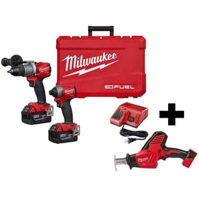 M18 FUEL 18-Volt Lithium-Ion Brushless Cordless Hammer Drill and Impact Driver Combo Kit W/ M18 Reciprocating Saw