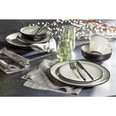 Nova 16-Piece Casual Black Stoneware Dinnerware Set (Service for 4)