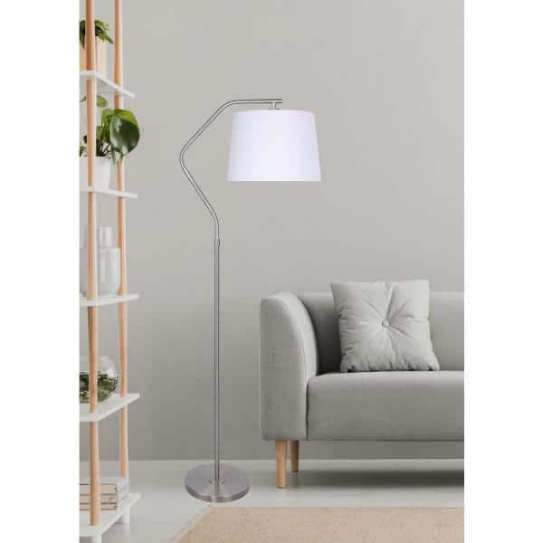 Grandview Gallery 62 5 In Brushed Nickel Floor Lamp With Angled Base Design And Off White Tapered Drum Shade Sf90442a The Home Depot