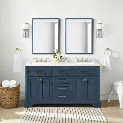 Melpark 60 in. W x 22 in. D Bath Vanity in Grayish Blue with Cultured Marble Vanity Top in White with white Basins