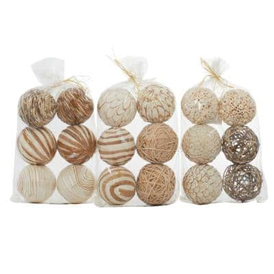 White Dried Flower Natural Orbs and Vase Filler (Set of 3)