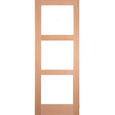 36 in. x 80 in. Contemporary Hemlock 3-Lite Clear Glass Unfinished Wood Front Door Slab