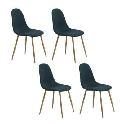 Exquisite Blue Velvet Upholstered Leisure Accent Chairs Side Chair Kitchen Dining Chairs (Set of 4)