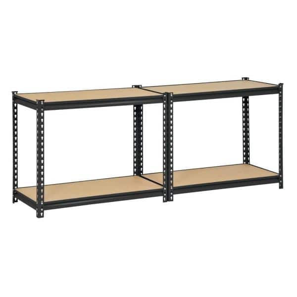 Edsal Black 4 Tier Heavy Duty Steel Garage Storage Shelving 36 In W X 60 In H X 18 In D Ur 364blk The Home Depot