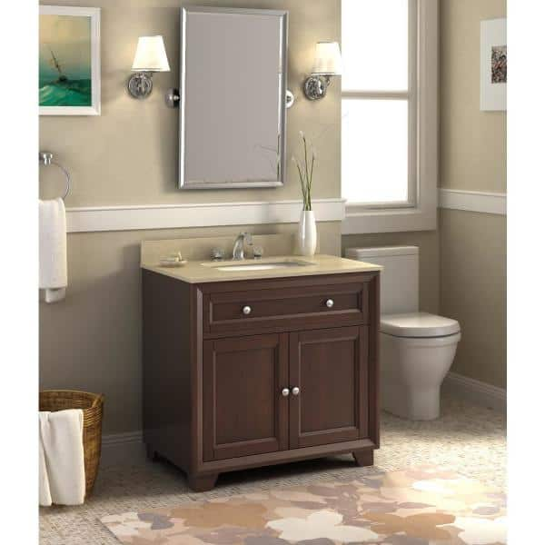 Berby 36 In Beige Granite Vanity Top With Single Basin In White And Backsplash Wf6819 36 The Home Depot