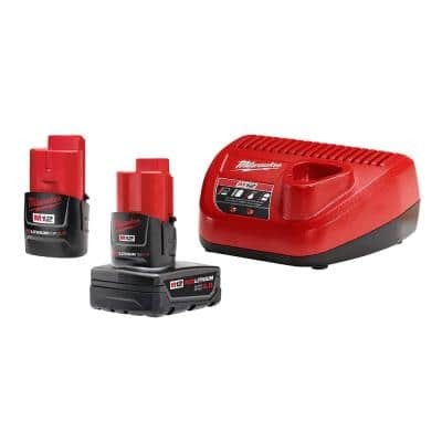 M12 12-Volt Lithium-Ion 4.0 Ah and 2.0 Ah Battery Packs and Charger Starter Kit