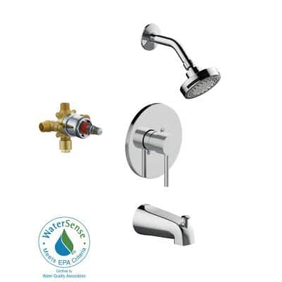 Eastport II Single-Handle 5-Spray Settings Tub and Shower Faucet in Polished Chrome (Valve Included)