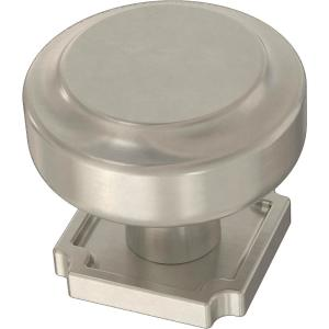 Notched Backplate 1-1/4 in. (32 mm) Satin Nickel Cabinet Knob