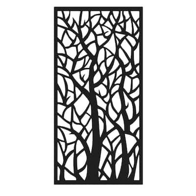 36 in. W x 72 in. H Woodland Aluminum Decorative Screen Panel in Black