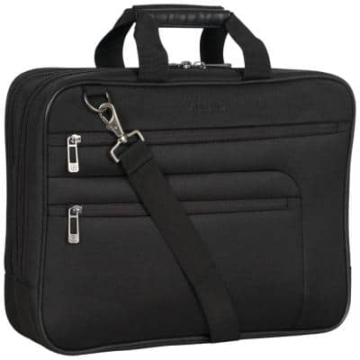 Black - Multi-Pocket 1680D Polyester Dual Compartment 17in Laptop Case/ Business Computer Portfolio