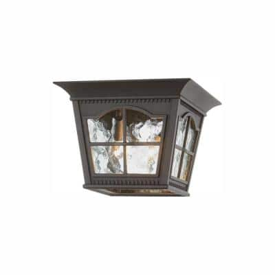 Loridan Square 3-Light Black Outdoor Flush Mount Light with Clear Water Glass