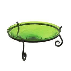 14 in. Dia Fern Green Reflective Crackle Glass Birdbath Bowl with Short Stand II