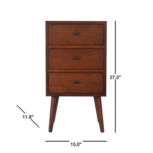 Decor Therapy Mid Century Walnut 3 Drawer End Table Fr6320 The Home Depot