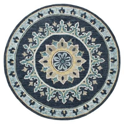 Gardens Blue/Yellow 7 ft. Round Floral Medallion Border Wool Area Rug