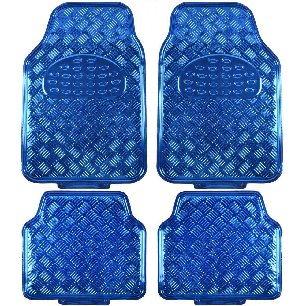 Metallic Vinyl MT-641 Blue Heavy Duty  4-Piece Car Floor Mats