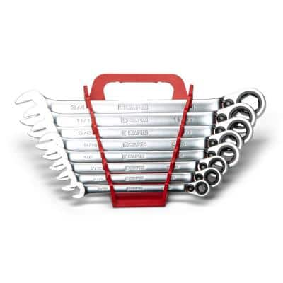 SAE 6-Point Long Pattern Reversible Ratcheting Combination Wrench Set with Wrench Rack (8-Piece)