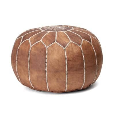 Handmade Moroccan Leather Filled Ottoman Brown Round Pouf