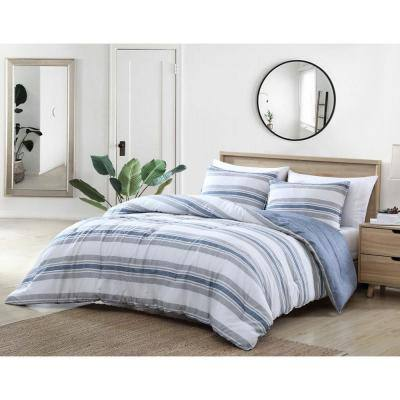 Bay Shore 3-Piece Navy Blue Striped Cotton King Comforter Set