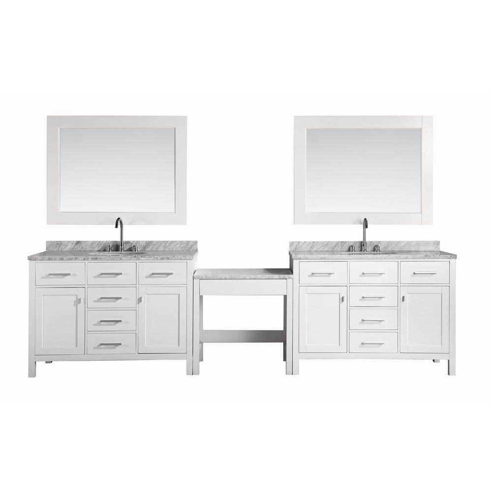 Design Element Two London 48 In W X 22 In D Vanity In White With Marble Vanity Top In Carrara White Mirror And Makeup Table Dec076c Wx2 Mut W The Home Depot