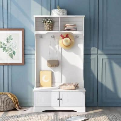 White Entryway Bench Hall Trees with Shelves Cabinet and Four Hooks