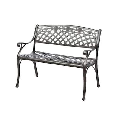 Cinco Rosas Cast Aluminum Outdoor Bench with Antique Fern Finish