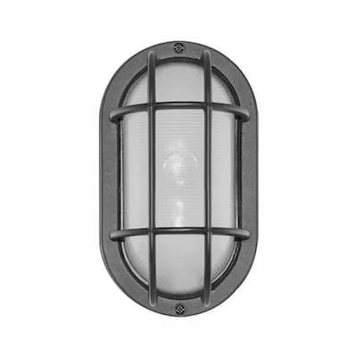 Black Outdoor Integrated LED Bulkhead Wall Light