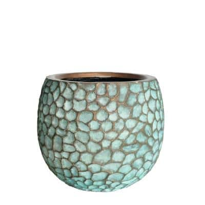 14.125 in. D Medium Patina Green Composite Hammered Planter