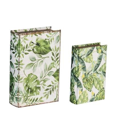 Green/White Botanical Book Boxes (Set of 2)