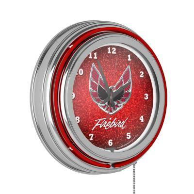 14 in. Pontiac Firebird Red Chrome Double Ring Neon Wall Clock