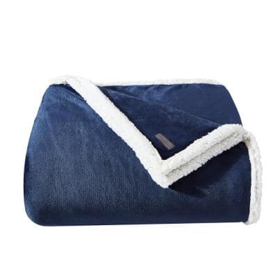 Solid Ultra Sherpa Plush 1-Piece Blue Microfiber Twin Blanket